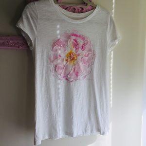 Loft, Ann Taylor-T shirt, burned cotton, flower